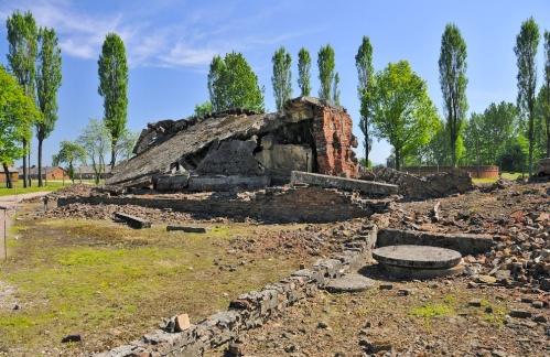 Barracks ruins. Auschwitz-Birkenau concentration camp, Brzezinka, Lesser Poland Voivodeship, Poland.