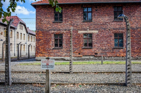 Electric fence, concentration camp. Auschwitz. Poland.